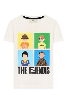 Детская хлопковая футболка FENDI белого цвета, арт. JMI315/7AJ/8A-12+ | Фото 1