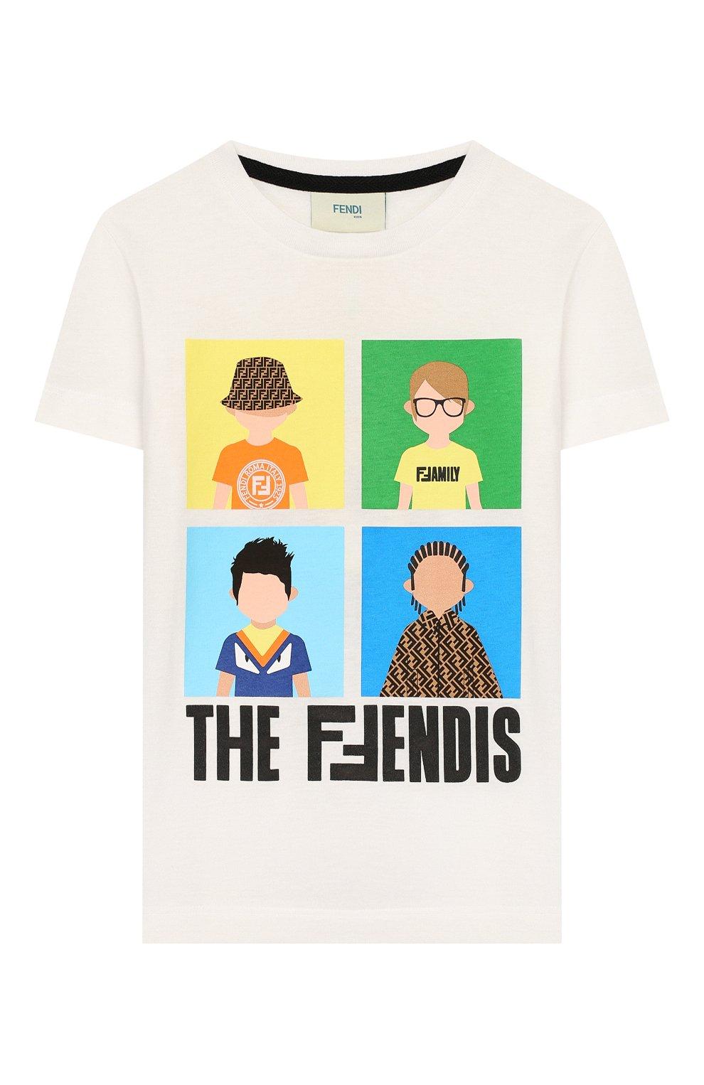 Детская хлопковая футболка FENDI белого цвета, арт. JMI315/7AJ/3A-6A | Фото 1
