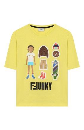 Детская хлопковая футболка FENDI желтого цвета, арт. JMI318/7AJ/8A-12+ | Фото 1