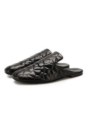 Мужские кожаные сабо ROCCO P. черного цвета, арт. 10025/TRIP0N | Фото 1
