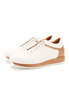 Мужские кожаные кроссовки W.GIBBS белого цвета, арт. 8491001/1672 | Фото 1