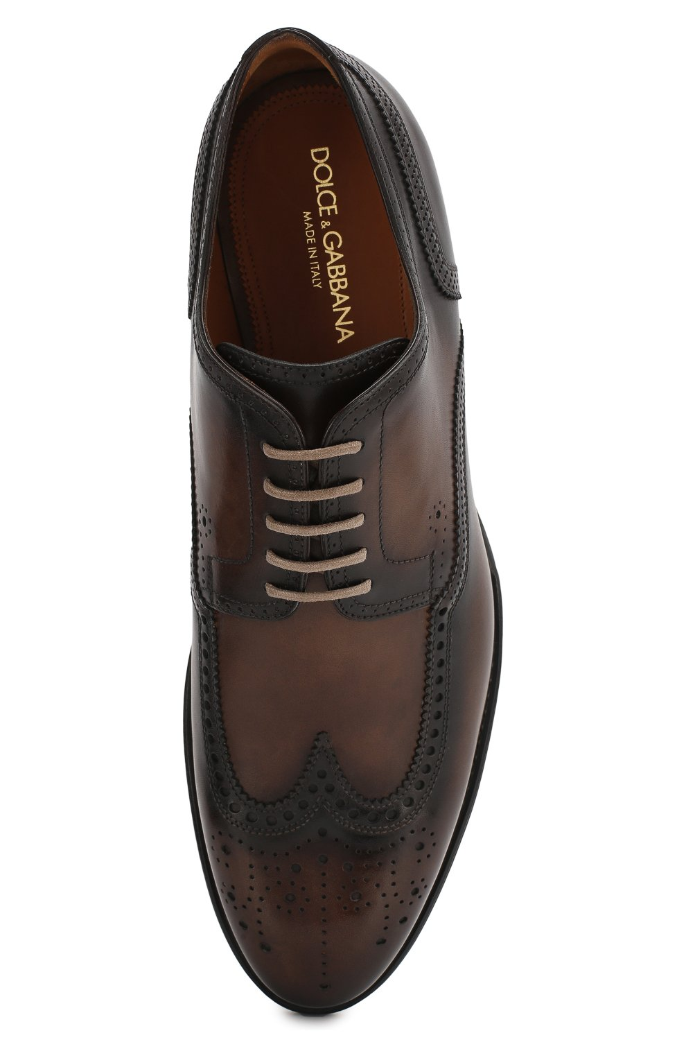 Мужские кожаные дерби napoli DOLCE & GABBANA коричневого цвета, арт. A10533/AX038 | Фото 5