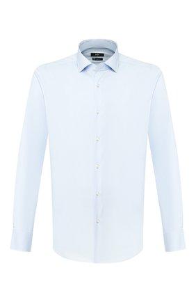Мужская хлопковая сорочка BOSS голубого цвета, арт. 50428482 | Фото 1