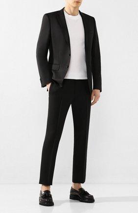 Мужские шерстяные брюки BOSS черного цвета, арт. 50408837 | Фото 2 (Случай: Формальный; Материал внешний: Шерсть; Длина (брюки, джинсы): Стандартные; Стили: Классический)