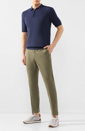Мужской брюки из смеси хлопка и шелка ALTEA зеленого цвета, арт. 2053051   Фото 2