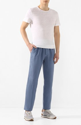Мужской льняные брюки ALTEA голубого цвета, арт. 2053065   Фото 2