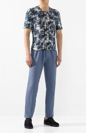 Мужская льняная футболка 120% LINO синего цвета, арт. R0M7186/F779/300 | Фото 2