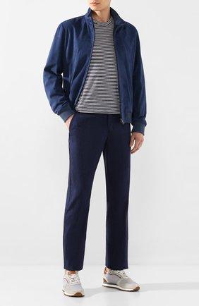 Мужской брюки из смеси льна и шерсти ZILLI темно-синего цвета, арт. M0T-D0150-LALI1/R001 | Фото 2
