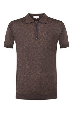 Мужское поло из смеси шелка и хлопка BRIONI коричневого цвета, арт. UMS20L/P9K10 | Фото 1
