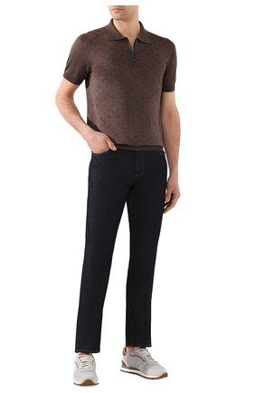 Мужское поло из смеси шелка и хлопка BRIONI коричневого цвета, арт. UMS20L/P9K10 | Фото 2