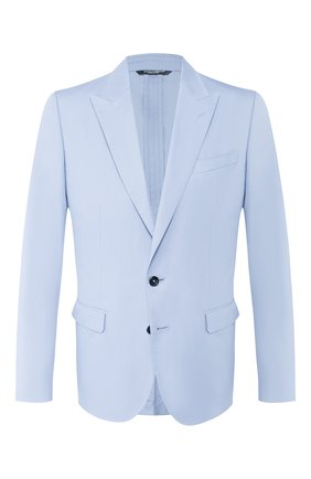 Мужской пиджак из смеси хлопка и шелка DOLCE & GABBANA голубого цвета, арт. G2NW0T/FU5SZ | Фото 1