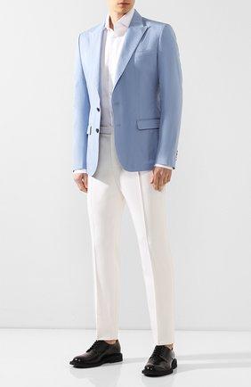 Мужской пиджак из смеси хлопка и шелка DOLCE & GABBANA голубого цвета, арт. G2NW0T/FU5SZ | Фото 2