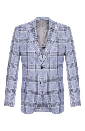 Мужской пиджак из смеси льна и шелка L.B.M. 1911 голубого цвета, арт. 2411/02753 | Фото 1