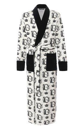 Мужской хлопковый халат DOLCE & GABBANA черно-белого цвета, арт. G018DT/HS7BA | Фото 1