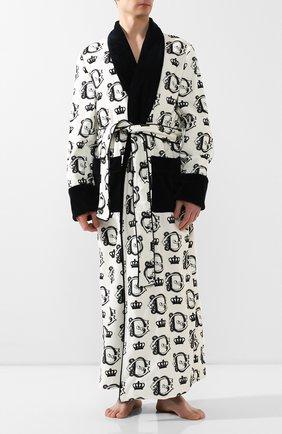 Мужской хлопковый халат DOLCE & GABBANA черно-белого цвета, арт. G018DT/HS7BA | Фото 2