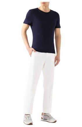 Мужские льняная футболка DEREK ROSE темно-синего цвета, арт. 3163-J0RD001 | Фото 2