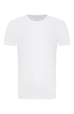 Мужские льняная футболка DEREK ROSE белого цвета, арт. 3163-J0RD001 | Фото 1