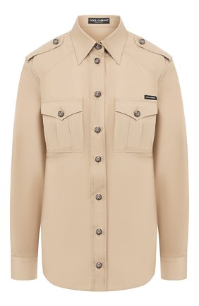 Женская хлопковая рубашка DOLCE & GABBANA бежевого цвета, арт. F5M03T/FU5K9 | Фото 1