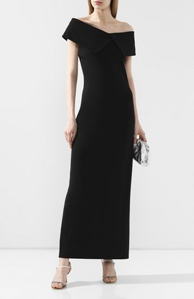 Женское платье-макси THE ROW черного цвета, арт. 5025K285 | Фото 2 (Рукава: Короткие; Длина Ж (юбки, платья, шорты): Миди, Макси; Материал внешний: Вискоза; Случай: Вечерний)