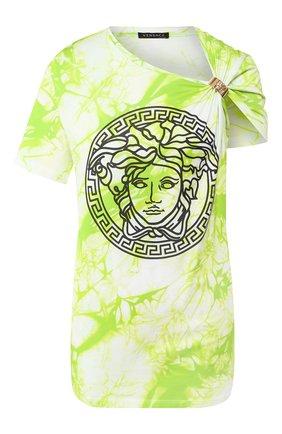 Женская хлопковая футболка VERSACE салатового цвета, арт. A86374/A234568 | Фото 1