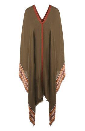 Женская пончо из смеси шелка и кашемира LORO PIANA хаки цвета, арт. FAI5673 | Фото 1