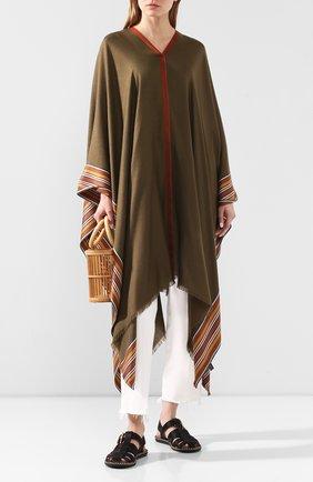 Женская пончо из смеси шелка и кашемира LORO PIANA хаки цвета, арт. FAI5673 | Фото 2