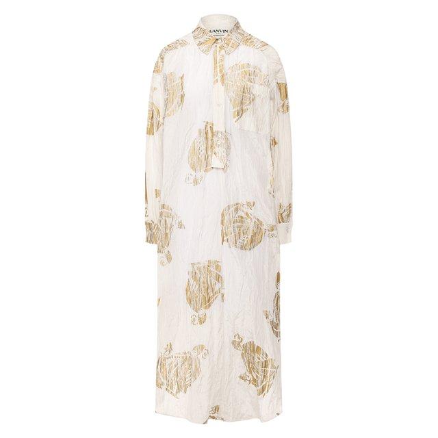 Платье из смеси хлопка и шелка Lanvin