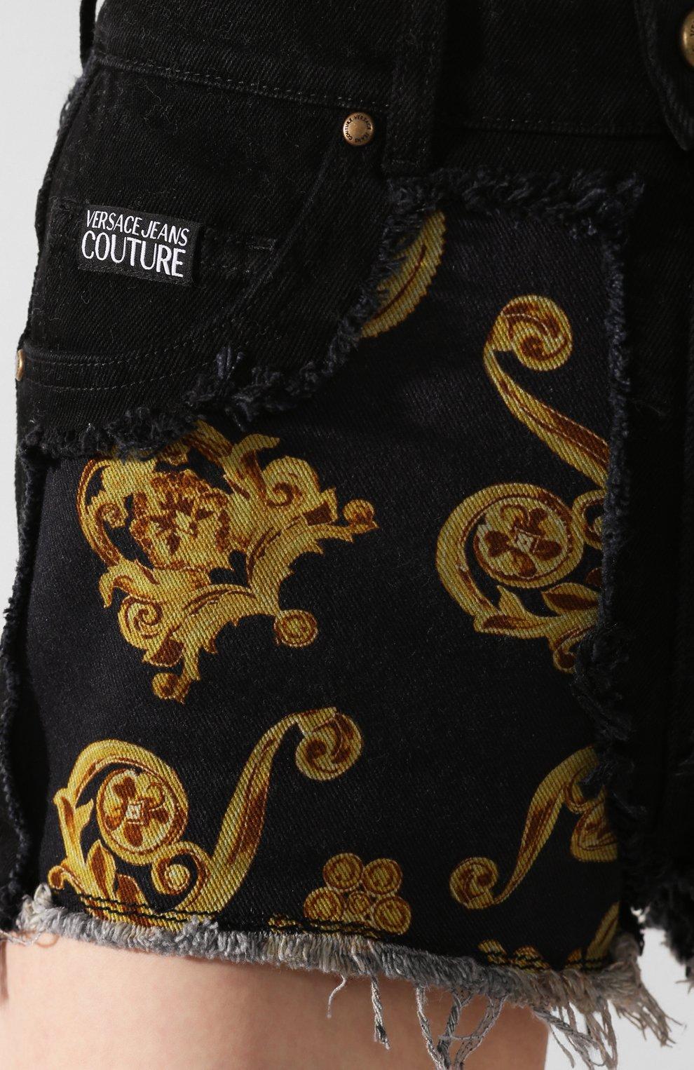 Женские джинсовые шорты VERSACE JEANS COUTURE черного цвета, арт. A3HVB18G-VDM508/APD54 | Фото 5 (Женское Кросс-КТ: Шорты-одежда; Стили: Гламурный; Кросс-КТ: Деним; Длина Ж (юбки, платья, шорты): Мини; Материал внешний: Хлопок, Деним)