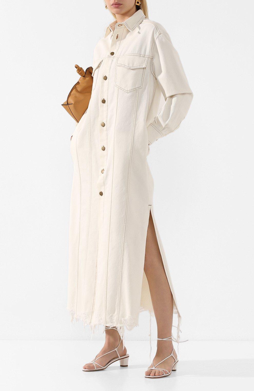Женские кожаные босоножки MARTINIANO белого цвета, арт. 019/SPAGHETTI/KID LEATHER | Фото 2