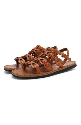 Женские кожаные сандалии PRADA коричневого цвета, арт. 1X186M-27-F0046-A015 | Фото 1