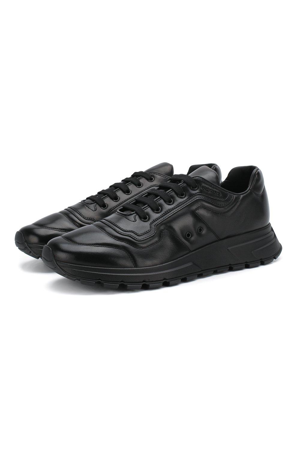 Мужские кожаные кроссовки prax 01 PRADA черного цвета, арт. 4E3388-72-F0002-G000   Фото 1 (Стили: Классический; Подошва: Массивная)