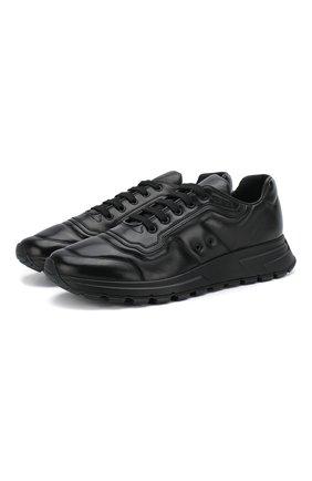 Мужские кожаные кроссовки prax 01 PRADA черного цвета, арт. 4E3388-72-F0002-G000 | Фото 1