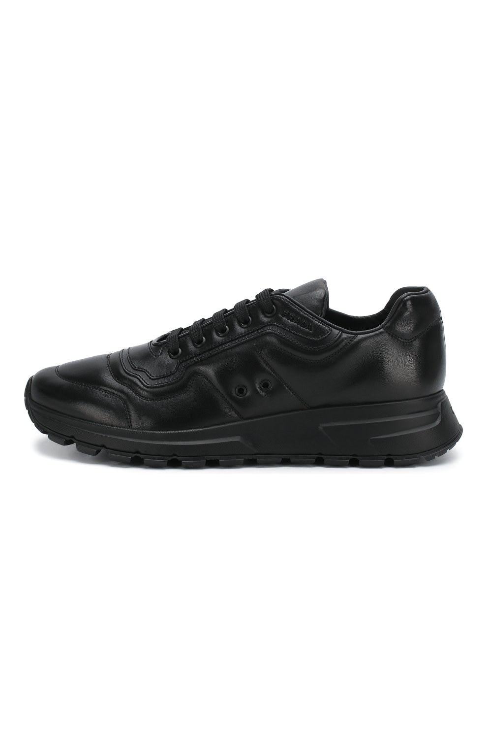 Мужские кожаные кроссовки prax 01 PRADA черного цвета, арт. 4E3388-72-F0002-G000   Фото 3 (Стили: Классический; Подошва: Массивная)
