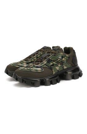 Мужские комбинированные кроссовки cloudbust thunder PRADA хаки цвета, арт. 2EG293-3L44-F0161 | Фото 1