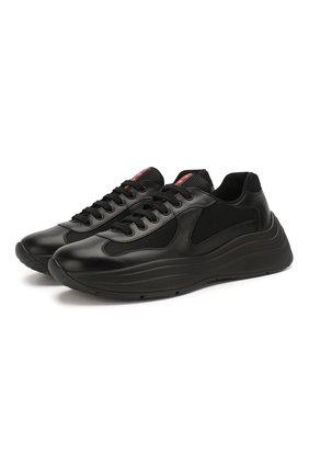 Мужские комбинированные кроссовки america's cup PRADA черного цвета, арт. 4E3494-6GW-F0002 | Фото 1