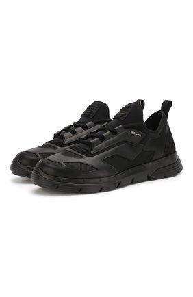 Мужские комбинированные кроссовки PRADA черного цвета, арт. 4E3515-DEP-F0002 | Фото 1