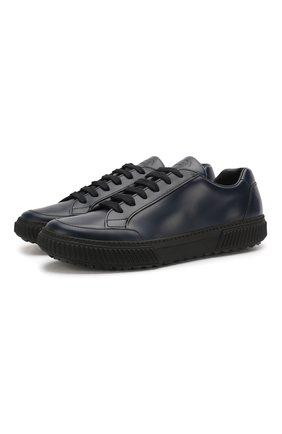 Мужские кожаные кеды PRADA темно-синего цвета, арт. 4E3467-OVD-F073A | Фото 1