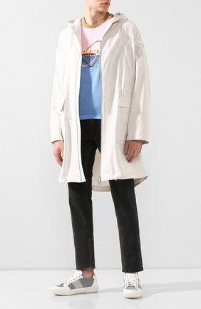 Мужские комбинированные кеды PRADA белого цвета, арт. 4E3506-2OFB-F0Z6K | Фото 2