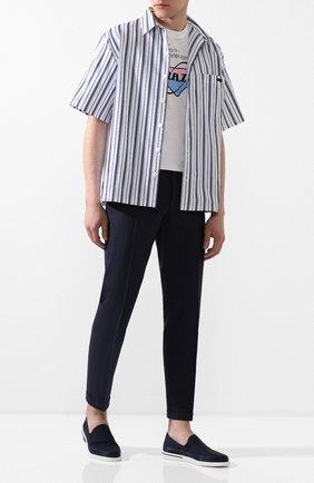 Мужские текстильные слипоны PRADA темно-синего цвета, арт. 4D3488-71L-F0Q8A | Фото 2