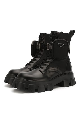 Мужские комбинированные ботинки PRADA черного цвета, арт. 2UE007-3L09-F0002-D002 | Фото 1
