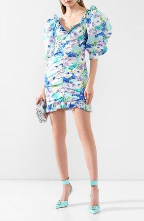 Женское шелковое платье ALESSANDRA RICH голубого цвета, арт. FAB2009-F2780 | Фото 2