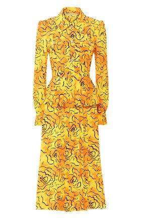 Женское шелковое платье ALESSANDRA RICH желтого цвета, арт. FAB2071-F2740 | Фото 1