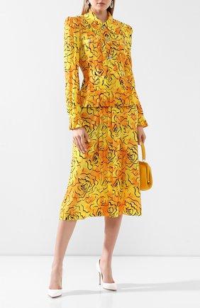 Женское шелковое платье ALESSANDRA RICH желтого цвета, арт. FAB2071-F2740 | Фото 2