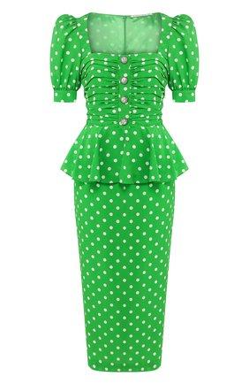 Женское шелковое платье ALESSANDRA RICH зеленого цвета, арт. FAB2129-F2818 | Фото 1
