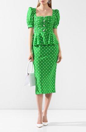 Женское шелковое платье ALESSANDRA RICH зеленого цвета, арт. FAB2129-F2818 | Фото 2