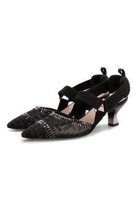 Женские текстильные туфли FENDI черного цвета, арт. 8J6969 A8UF | Фото 1