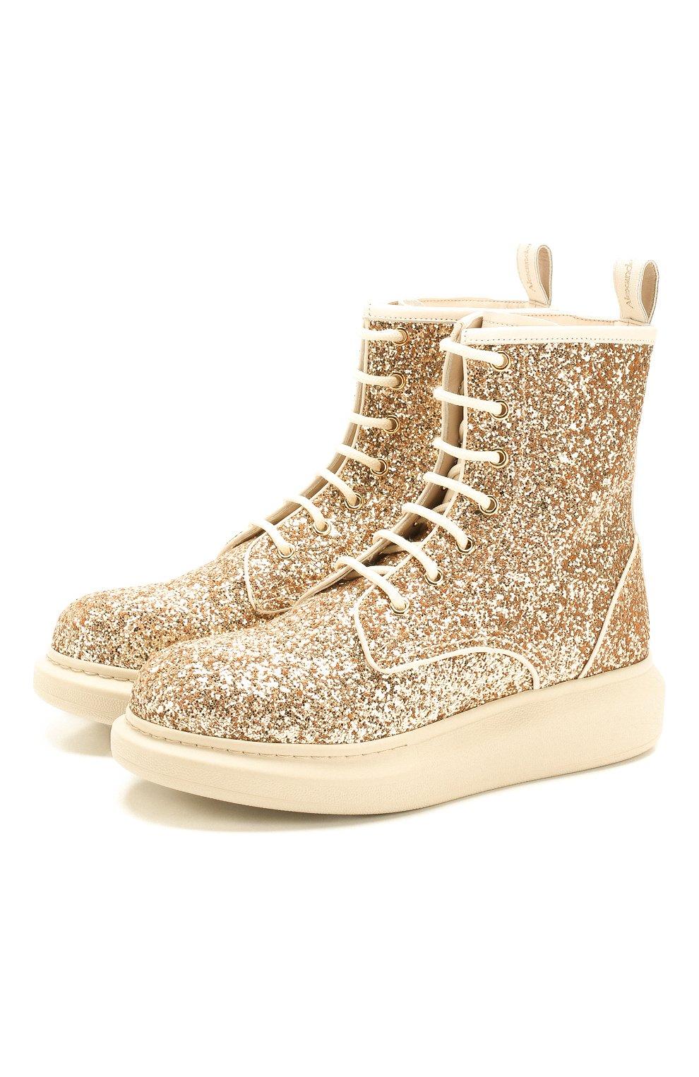 Женские текстильные ботинки ALEXANDER MCQUEEN золотого цвета, арт. 586394/W4EY6 | Фото 1