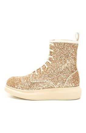 Женские текстильные ботинки ALEXANDER MCQUEEN золотого цвета, арт. 586394/W4EY6 | Фото 3