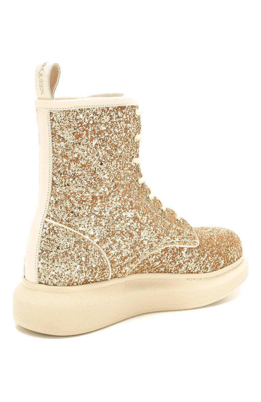 Женские текстильные ботинки ALEXANDER MCQUEEN золотого цвета, арт. 586394/W4EY6 | Фото 4