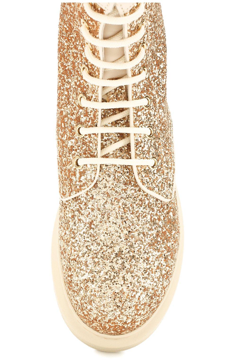 Женские текстильные ботинки ALEXANDER MCQUEEN золотого цвета, арт. 586394/W4EY6 | Фото 5